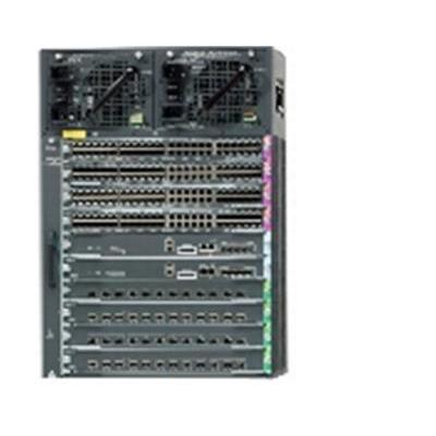 Cisco netwerkchassis: Catalyst 4510R+E switch (10-slot chassis), fan, no power supply, Ref - Zwart