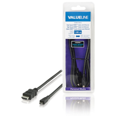 Valueline High Speed HDMI-kabel met ethernet HDMI-connector - HDMI micro-connector 2.00 m zwart HDMI kabel