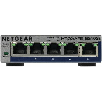 Netgear ProSAFE GS105E 5-Port Gigabit Unmanaged Plus Switch - Grijs