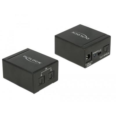 DeLOCK 2 x TOSLINK in, 1 x TOSLINK out, 1 x DC 5 V, AC 100 - 240 V, 50/60 Hz, 0.3 A Audio switch  - Zwart
