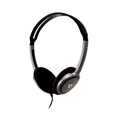 V7 Lightweight Stereo Headset - Zwart,Zilver