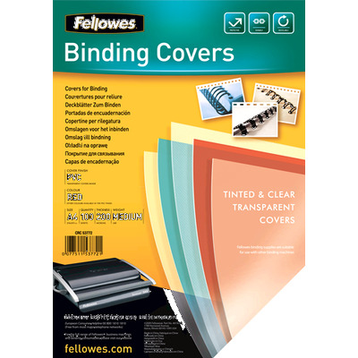 Fellowes Transparante PVC dekbladen - 200 micron, A4 binding cover - Rood, Transparant