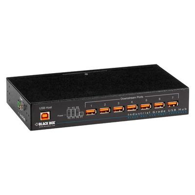 Black Box Industrial-Grade USB, 7-Port Hub - Zwart