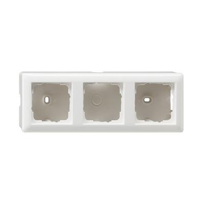 GIRA Opbouwbehuizing, compleet met afdekraam Standaard 55, drievoudig, zuiver wit glanzend