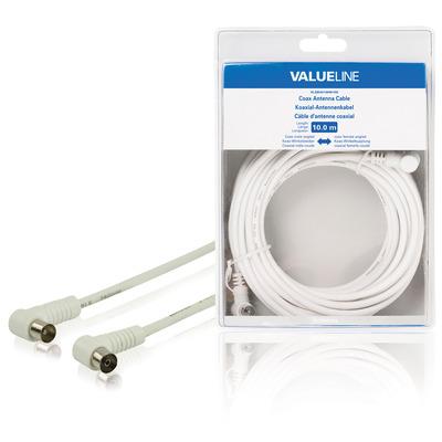 Valueline coax kabel: Coax antennekabel, coax mannelijk gehoekt - coax vrouwelijk gehoekt, 10.0 m, wit
