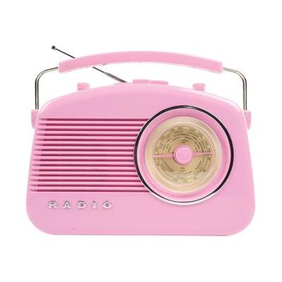 König radio: Konig Stylish Retro Table Radio - Pink - Roze