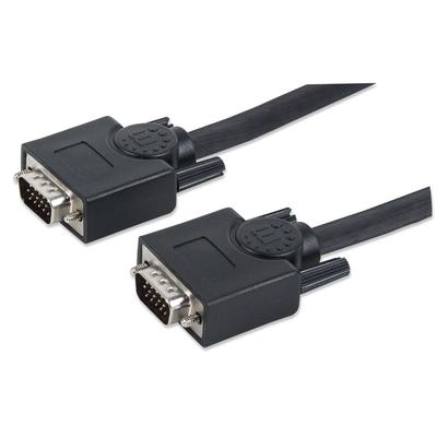 Manhattan SVGA Monitor Cable, HD15, Male to Male, 3m, Shielded, Black, Blister VGA kabel  - Zwart
