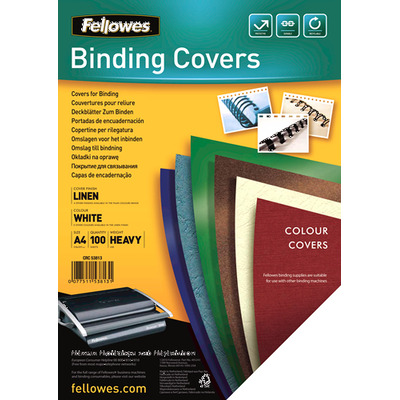 Fellowes binding cover: Dekbladen linnen FSC A4 - Wit