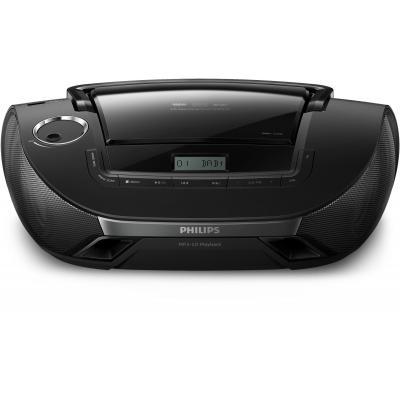 Philips CD-radio: 2 x 1 W RMS, USB, Audio in, 6x C(LR14) - Zwart