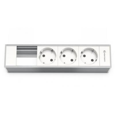 Kindermann Modul Panel for 4 Plates, 3x mains Inbouweenheid - Grijs, Wit
