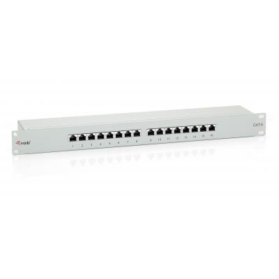Equip patch panel: 16-Port Cat.6 Shielded Patch Panel - Grijs