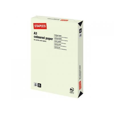 Staples papier: Papier SPLS A3 80g lichtgroen/pak 500v