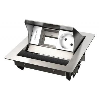 Kindermann 2-fold, 1 x mains Inbouweenheid - Roestvrijstaal, Wit