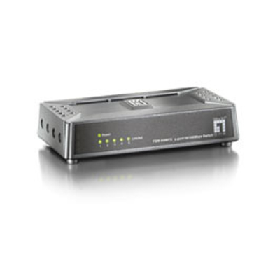 LevelOne 5 poort Fast Ethernet Swicth Switch - Zwart,Grijs