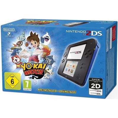 Nintendo spelcomputer: 2DS, Console Black + Blue + Yo-Kai Watch
