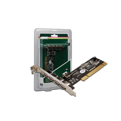 Digitus PCI USB 2.0 card Interfaceadapter - Zwart