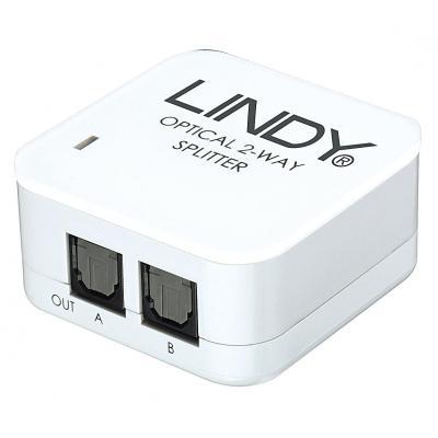 Lindy 2 Way, Input: 1x TosLink, Output: 2x TosLink, LPCM, 5V DC - Wit