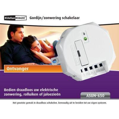 Klikaanklikuit afstandsbediening: ASUN-650, Gordijn/zonwering ontvanger - Wit