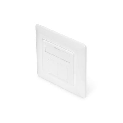 Digitus Wallplate for Keystone Jacks, German Type 80x80 frame, 50x50 central plate, design comp. - Wit
