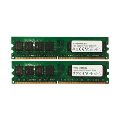 V7 4GB (2x 2GB) DDR2, PC2-6400, 800 Mhz, CL6, 240PIN DIMM RAM-geheugen - Groen