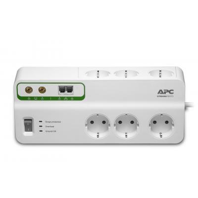 Apc surge protector: Overspanningsbeveiliger 2300W 6x stopcontact + Coax + Telefoon - Wit