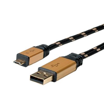 ROLINE GOLD USB 2.0 Kabel, USB A Male - Micro USB B Male 1,8m USB kabel - Zwart,Goud