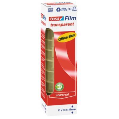 Tesa plakband: 10 m / 15 mm, 10 rollen, office box - Transparant