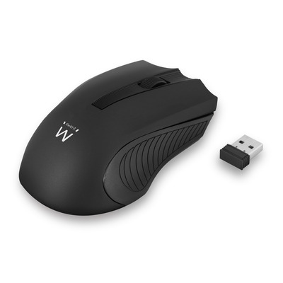 Ewent 1200 dpi, 10m RF Wireless, USB Nano ontvanger, Plug & Play, 1xAA Muis - Zwart