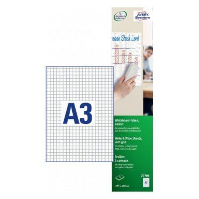 Avery millimeterpapier: Zweckform whiteboardfolie ft A3, wit geruit, pak van 3 stuks