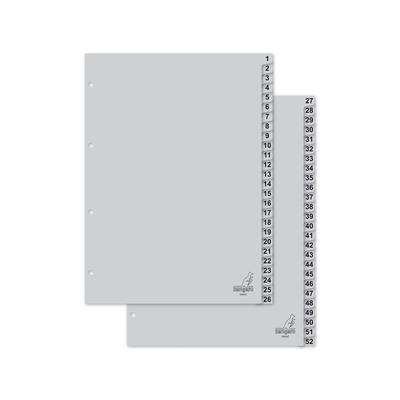 Kangaro Tabblad A4 cijfers PP 120mµ grijs 4r 52dlg Indextab