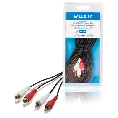Valueline Stereo RCA audio verlengkabel 2x RCA mannelijk - 2x RCA vrouwelijk 10.0 m zwart - Zwart, Rood, Wit