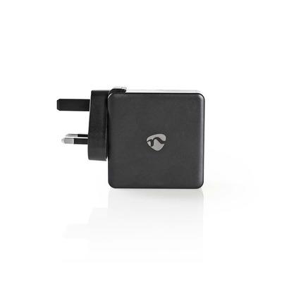 Nedis Thuislader, 3,0 A, USB (QC) / USB-C, Power Delivery 30 W, Zwart, UK-stekker Oplader