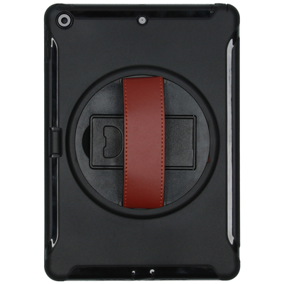 CP-CASES Defender Backcover met strap iPad 10.2 (2019 / 2020) - Zwart - Zwart / Black Tablet case