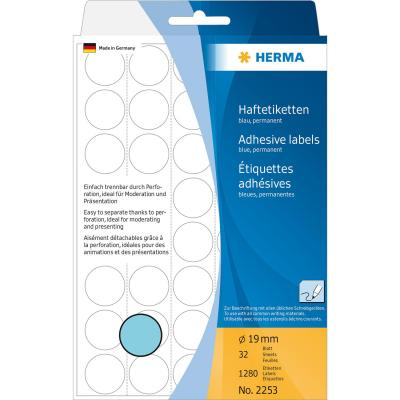 Herma etiket: Universele etiketten/Kleur punten ø 19mm blauw geperforeerd 1280 St.