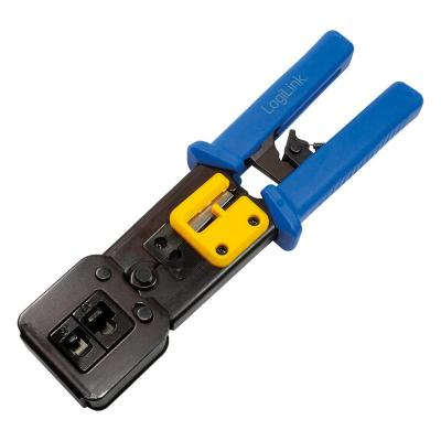 LogiLink Crimping tool for RJ11/12/45/EZ plugs, with cutter Tang - Zwart, Blauw