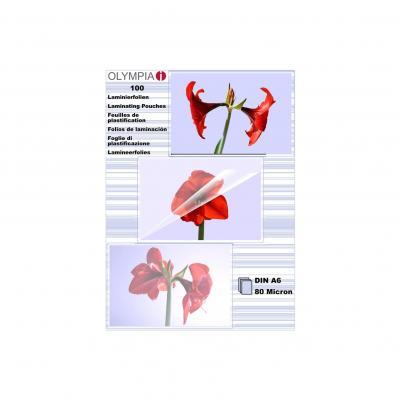 Olympia 1x100 DIN A6 80 micron Laminatorhoes - Transparant