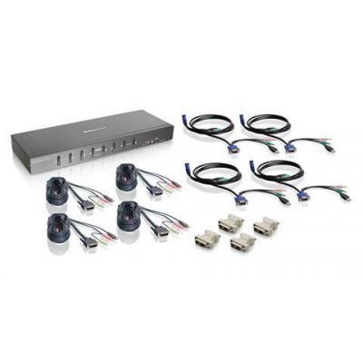 Iogear 8-Port Dual Link DVI KVMP Switch KIT w/ VGA support KVM switch - Zwart