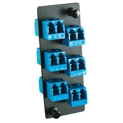 Molex 6-Pak LC Adapter Plate, SM Fiber optic adapter - Zwart,Blauw