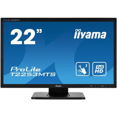 "Iiyama ProLite 21.5"" dual touchscreen, based on Optical touch technology Touchscreen monitor - Zwart"