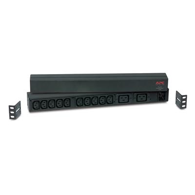 APC Rack PDU, Basic, 0U/1U, 16A, 230V, (10x) C13 (2x) C19, C20 stekker Energiedistributie - Zwart