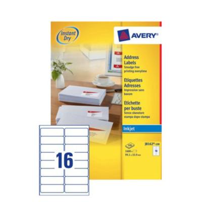 Avery adreslabel: A4, Inkjet, 1600 etiketten, 99.1 x 33.9 mm - Wit