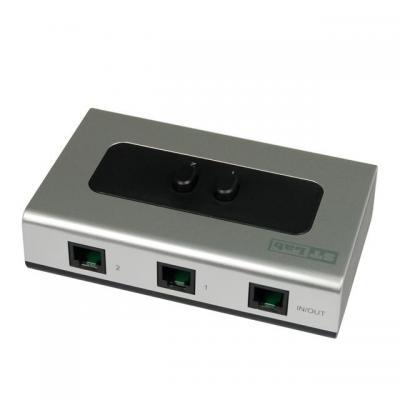ST Lab RJ-11 2x1 Signal Switch telefonie switch - Aluminium, Zwart