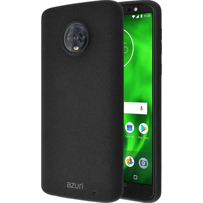 Azuri Flexible cover met zandtextuur - zwart - voor Motorola Moto G6 Plus Mobile phone case