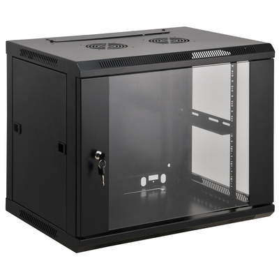 "Intellinet 19"" Wallmount Cabinet, 9U, 500 (h) x 600 (w) x 450 (d) mm, Max 60kg, Assembled, Black Rack - Zwart"