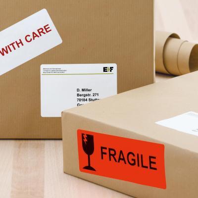 Herma adreslabel: Shipping label/warning message A4 50x142 mm luminous red paper matt 160 pcs. - Rood
