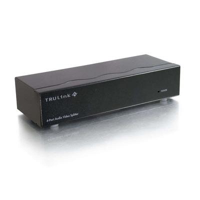 C2G TruLink 4-Port UXGA monitor splitter/extender with 3.5mm Audio Video splitter - Zwart