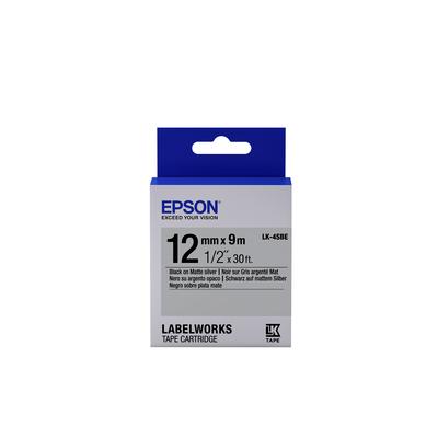 Epson Matte Tape - LK-4SBE Matte Blk/MattSiv 12/9 Labelprinter tape