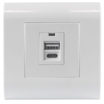Intellinet 2-Port USB-A & USB-C Wall Outlet with Faceplate, Two USB Charging Ports (Type-A and Type-C), 5 V / .....