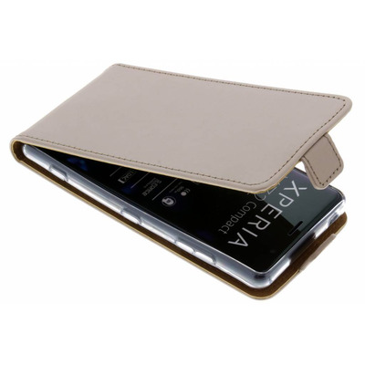 Luxe Softcase Flipcase Sony Xperia XZ2 Compact - Goud / Gold Mobile phone case