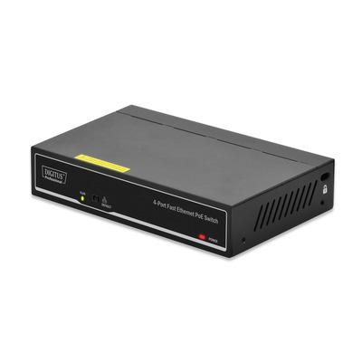 Digitus Professional 4-Port 10/100Mbps Fast Ethernet PoE with 2-Port Uplink Switch - Zwart